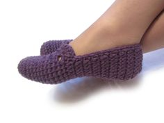 violet crochet slippers lilac woman house slippers by ukraisa