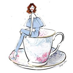 Megan Hess: My coffee illustration today is served in Butterfly Bloom by WEDGWOOD (it's the fancy way to drink your Monday coffee! Megan Hess Illustration, Coffee Illustration, Illustration Art, Coffee Cup Art, Coffee Girl, My Coffee, Monday Coffee, Coffee Corner, Kerrie Hess