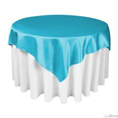 This would be great for a destination wedding in Hawaii with tropical flowers on top. IN STOCK NOW! 60-inch Caribbean  Square Satin Overlay at LinenTablecloth.com
