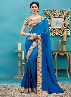 Blue Silk Patch Lace Work Saree 115775