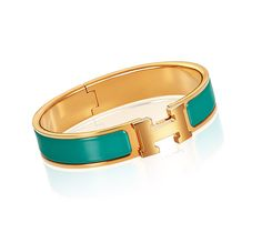 "Clic H Hermes narrow bracelet Emerald enamel Gold plated hardware, 2.25"" diameter, 7.5"" circumference, 0.5"" wide"