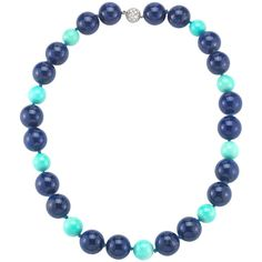 Preowned Tiffany & Co. Lapis Lazuli Turquoise Diamond Necklace ($6,500) ❤ liked on Polyvore featuring jewelry, necklaces, multiple, diamond bead necklace, diamond jewelry, lapis lazuli bead necklace, long turquoise necklace and beaded jewelry