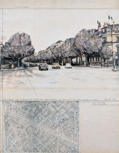 380 Wrapped Trees (Project for Avenue des Champs Elysées and Rond Point des Champs Elysées in Paris)