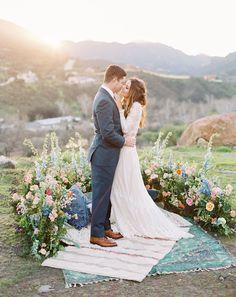 Sunset wedding, bohemian vibes, floral ring