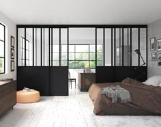 Crittall windows separating two areas. Great idea for splitting up a bedroom and bathroom in a loft conversion. House Design, Interior Design, House Interior, Furniture, Interior Architecture, Bedroom Interior, Home, Loft Spaces, Room
