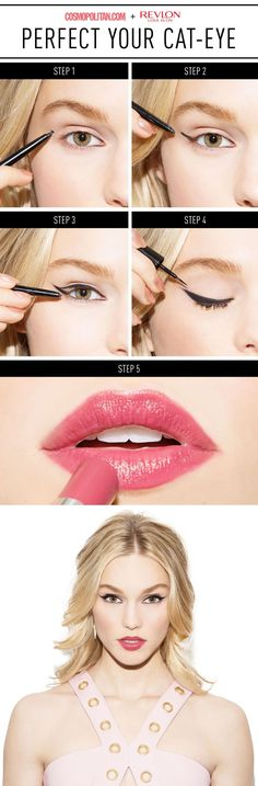 SEXY DATE MAKEUP: So you have a big event coming up — a wedding, formal, prom, or date night — and you want your date to do nothing but look at you all night. So here's the deal: You *need* to nail your cat-eye. Here, makeup artist Kristen Gallegos has a goof-proof trick that will help you perfect your winged eye without breaking a sweat. Click through for the easy and gorgeous makeup tutorial that will teach you how to create a perfect cat-eye and pretty makeup look every time.