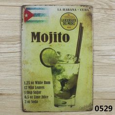 MOJITO CUBA VINTAGE Tin Sign Bar pub home Wall Decor Retro Metal ART Poster  #Generic #ArtsCraftsMissionStyle