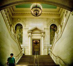 Inside the foyer of The Widener Library (1915) at Harvard University in Cambridge, Massachusetts.