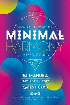 Minimal Harmony Poster Template - Best of Flyers Free Psd Flyer Templates, Flyer Design Inspiration, Street Names, Party Flyer, Photoshop, Drink, Minimal, Dj Edm, Branding Ideas