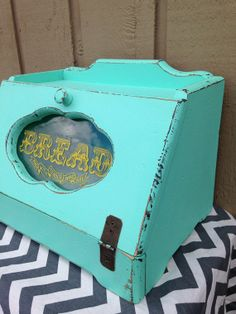 Aqua Upcycled Shabby Chic Wooden Bread Box  by RemnantsRenewed, $65.00 love!