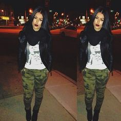 Camo pants and leather jacket; I could wear this outfit with a denim and leather jacket instead.