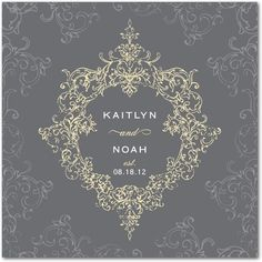 Signature White Wedding Invitations Opulent Crest - Front : Stormy Blue