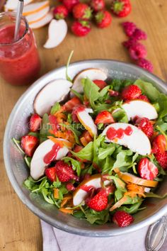 Whole30 Day #1; Strawberry salad with raspberry dressing