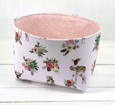 Fabric Storage Baskets, Fabric Bins, Baby Girl Nursery Decor, Woodland Nursery Decor, Nursery Storage, Toy Storage, Deer Girl, Baby Shower Gift Basket, Elephant Nursery