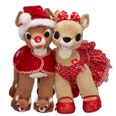 """Make the holidays beary special with these cheery friends! They make the perfect unique gift. Rudolph, with a nose that lights up, comes dressed in a Red Holiday Cape, Rudolph Slippers, Santa Hat and """"Rudolph the Red-Nosed Reindeer"""" sound. Clarice, with a heart that lights up, comes dressed in a Red Stripes & Dots Dress and Red Bow Glitter Flats. #BearHoliday"""