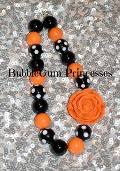 Chunky BubbleGum bead necklace HALLOWEEN Orange & Black jewelry Toddler Children on Etsy, $18.00
