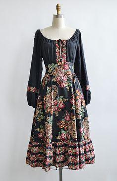 vintage 1970s black floral boho peasant dress