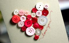 Reuse old buttons to make this cute Valentine's Day card
