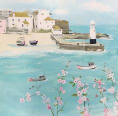 Flowers Above St Ives Print at Whistlefish - handpicked contemporary & traditional art that is high quality & affordable. Summer Scenes, St Ives, Acrylic Art, Traditional Art, Painting Inspiration, Canvas Art Prints, Home Art, Illustration Art, Artwork