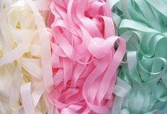Ice Cream Flavors Vintage Silky Ribbons-supplies, vintage, seam binding, candy color, pastel, lemony, yellow, cotton candy aqua, baby pink, ribbons, lime sorbet, marshmallow white, trim, Sugar Pink Boutique