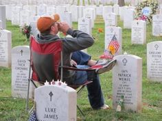 This guy was at Arlington Cemetary. He visits his buddy every Friday night and continues the tradition of having a beer together. Then he packs up, pats the tombstone, and heads back to his truck.