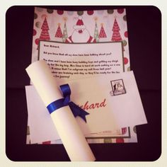 Santa Reply Pack. Pack includes - Personalised letter from Santa. Personalised Envelope (to put letter inti) Personalised Goodness Certificate (red/blue bow supplied also)