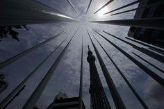 Tokyo, Japan: The Tokyo Skytree soars behind an artwork    Photograph: Itsuo Inouye/AP
