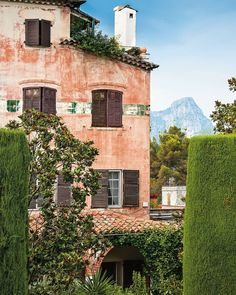 in Alpes Maritimes on the sleepy side of the French Riviera – this is view from Twenties café-hotel La Colombe d'Or in… French Alps, French Countryside, Provence, Europe Holidays, Belle Villa, French Country Style, French Riviera Style, Pink Houses, Beach Trip
