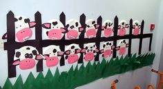 "On the Farm- This was a part of a large Farm project we worked on when covering and teaching a ""Farm Animals unit""- these are paper plate cows."