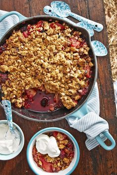 Cast Iron Apple Blackberry Crumble with Sour Cream Whipcountryliving