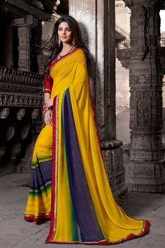 Yellow and Blue Faux Georgette Saree Checkout our #latest #sarees @ http://zohraa.com/sarees.html #zohraa #onlineshop #womensfashion #womenswear #look #diva #party #shopping #collection #online #beautiful #love #beauty #glam #bollywood #shoppingonline  #styles #stylish #model #fashionista #pretty #women #luxury #celebrity  #lifestyle #best #fashion