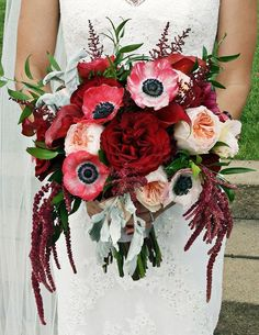 Romantic red anemone wedding bouquet; Via Ipomea Floral Design                                                                                                                                                                                 More