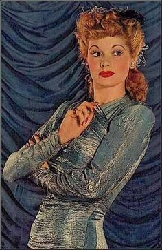 Lucille Ball in a sparkling blue dress - 1940's