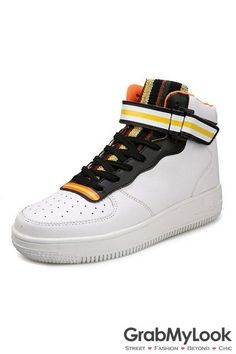 GrabMyLook Fashion White Mens Vintage Lace Up High Top Sneakers Boots Shoes