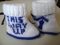 This Way Up Booties Perfect For the Hapless Father by LittleScottishThings on Etsy New Dads, Handmade Items, Handmade Gifts, Baby Booties, Hand Knitting, Father, Blue And White, Booty, Trending Outfits