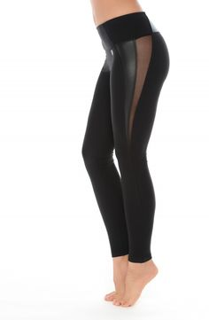 Our women's black ankle length leggings with sexy black power mesh and black vegan leather cut outs is the perfect athleisure piece to add to your workout to weekend street chic wardrobe. Features Fea