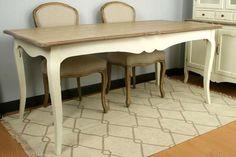 Mesa comedor Medidas: 180X90X80 CM Madera de fresno. Mueble rústico. Blanco de capado y tapa de madera decapada color natural viejo.