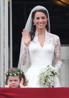 Kate Middleton in Alexander McQueen dress and tulle veil and 1930's Cartier diamond tiara belonging to Queen Elizabeth II