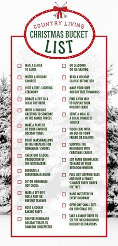 Consider this your Christmas bucket list for the holiday season. Check off all 25 activities from watching a holiday movie to sipping homemade hot cocoa.: