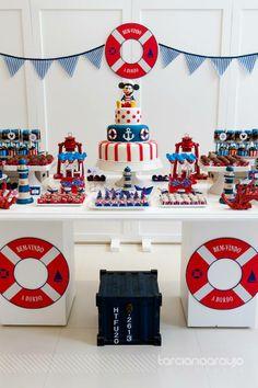 Bella Fiore | Festa Mickey Marinheiro Sailor Birthday, Sailor Party, Baby 1st Birthday, Mickey Mouse Birthday, First Birthday Parties, Nautical Mickey, Nautical Party, Mickey Party, Baby Party