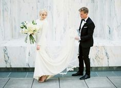 modest wedding dress with long sleeves from alta moda.  --  (modest bridal gowns)