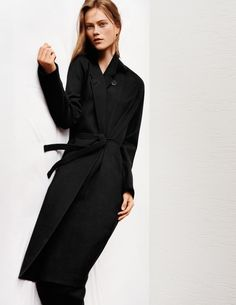 Cashmere-blended robe coat, $189.90; wool jogger pants, $59.90.