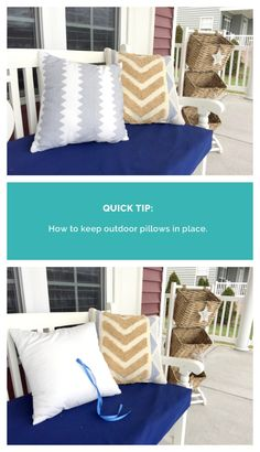 How to keep your outdoor pillows in place || Outdoor pillow DIY