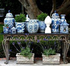Blue and White herb garden