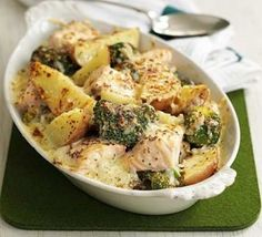 Broccoli & Potato Bake Salmon, Broccoli & Potato Bake Recipe on Yummly. Broccoli & Potato Bake Recipe on Yummly. Bbc Good Food Recipes, Vegetarian Recipes, Cooking Recipes, Healthy Recipes, Broccoli And Potatoes, Salmon And Broccoli, Salmon Potato, Broccoli Bake, Broccoli Recipes