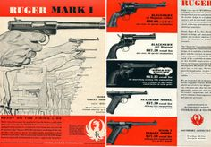 1957 Ruger 2 Different Ads Mark I Blackhawk 357 Single Six Revolver Standard | eBay