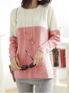 Stylish Jewel Neck Long Sleeves Color Splicing Sweater For WomenSweaters & Cardigans | RoseGal.com
