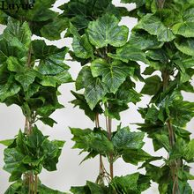 5PCS real artificial Plant Silk grape leaf scrapbooking garland faux rattan vine Ivy home decor wedding flower christmas gift(China (Mainland))