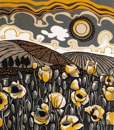 "Jane Walker ""Poppy Field"" Linocut"