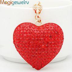 Hot Crystal Love Heart Keychain Keyring Fashion Rhinestone Metal Key Chain